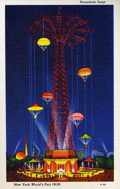 Parachute Jump, New York World's Fair, 1939 - Linen Postcard
