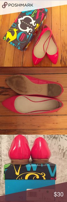 """C. Wonder Pointy Toe Flat Patent leather """"fire"""" (bright red/pink) pointy to flats. Wood detail heel. Comfortable size 7. Adds a great pop of funky color to an everyday work or casual attire C. Wonder Shoes Flats & Loafers"""