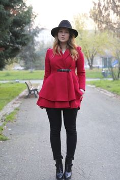 #SheInside Red Lapel Puff Sleeve Drawstring Waist Tweed Coat - Sheinside.com