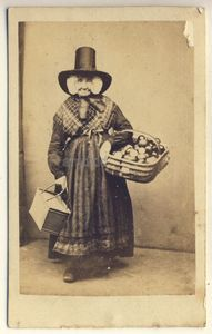 Welsh lady with basket of fruit CDV Aberystwyth