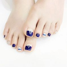 Fashion French Blue Nails Geometric Triangle pattern false nails for toe pure color fake nails 24pcs with glue short nail tips  #StickersGalaxy