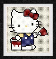"""Gráfico para punto de cruz de """"Hello Kitty Pintor""""."""