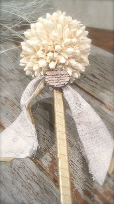 Cream Flower Girl Wand  #navy & white retro wedding board... Wedding ideas for brides, grooms, parents & planners ... https://itunes.apple.com/us/app/the-gold-wedding-planner/id498112599?ls=1=8 … plus how to organise an entire wedding, without overspending ♥ The Gold Wedding Planner iPhone App ♥