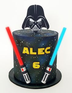 Star wars cake, light up sabers, Darth Vader