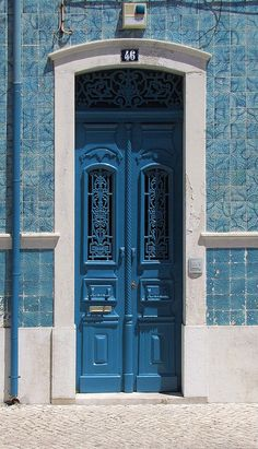 Blue Tile building and beautiful door - Caldas da Rainha, Portugal