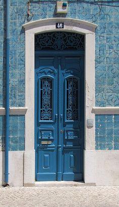 Caldas da Rainha traditional architecture woth azulejos, Portugal