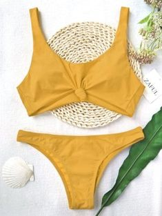 Knotted Scoop High Cut Bathing Suit - Ginger M