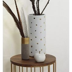 Threshold™ Spotted Ceramic Vase White and Gold 14in