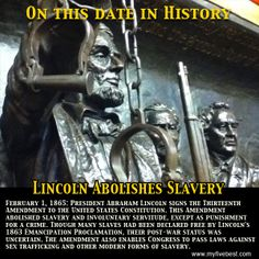 President Lincoln signs the 13th Amendment on this date in 1865, abolishing slavery in the U.S. http://www.myfivebest.com
