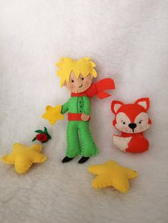 Little Prince felt Ornament Fox Star bedroom Decorations Reindeer Ornaments, Red Nosed Reindeer, Felt Ornaments, Felt Crafts, Diy And Crafts, Prince Birthday Party, Diy Backpack, Baby Prince, Mermaid Dolls