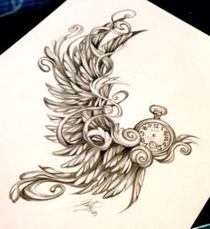 So many ideas. Angel wing and clock with no hands; you never know what moment will be your last.