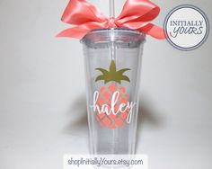 Listing is for one 20 oz tumbler with straw BPA Free & Double Wall Insulated Picture 1– Style Option: Font 12, Name Color: White, Pineapple