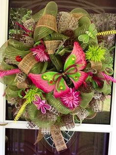 SALE Butterfly Deco Mesh Wreath by WreathsEtc on Etsy