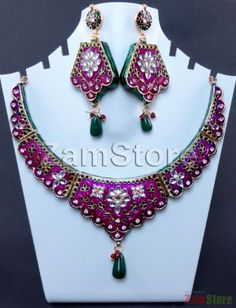 Twin Wall Highly Enameled Necklace Magenta & Green