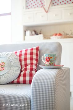 Minty House, red, blue, gingham, polka dots, Cath Kidston, mug; could be my favourite place at home:)
