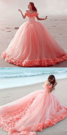 pink prom dresses 2021 off the shoulder hand made flowers ball gown tu – JZbridal Pretty Quinceanera Dresses, Pink Prom Dresses, Sweet 16 Dresses, Ball Gown Dresses, Sweet Dress, 15 Dresses, Bridal Dresses, Evening Dresses, Pink Ball Gowns