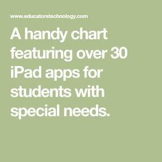 A Handy Chart Featuring Over 30 iPad Apps for Students with Special Needs 21st Century Skills, Learning Disabilities, Special Needs, Ipad, Students, Teacher, Chart, Writing, Education