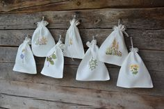 Linen gift bags set of 7 natural linen bags with embroidery