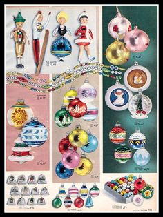 Sears catalog ornaments - 1957.  I thought I was perfectly happy, until I realised that I don't have the Olympic skiier and skater glass ornaments!