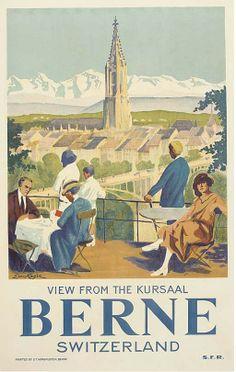 Bern, Switzerland Travel Poster (C. Party Vintage, Vintage Style, Evian Les Bains, Fürstentum Liechtenstein, Illustrator, Stations De Ski, Swiss Travel, Tourism Poster, Railway Posters