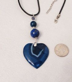 Onyx Agate Jewelry, Heart Pendant, Blue Onyx Agate Heart, Multigem Handmade Pendant Necklace, by DesignDimensions on Etsy