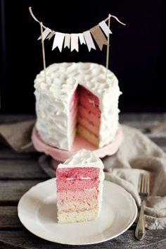 Pretty pink layered cake
