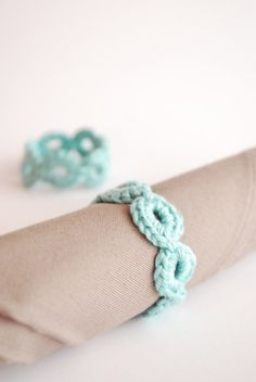Set of 4 Napkin Rings Blue Green Cotton Tableware by TheNewcrochet, €11.00