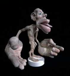 Motor homunculus statue.  This statue represents how much cortical area is designated to the parts of the body in the Motor Cortex.  The larger the body part, the more control we have of it.