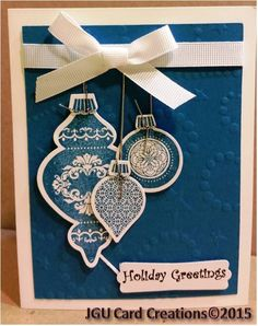 Christmas Card - Ornaments by Stampin Up (stamp & die, my word art