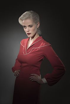 Red dress and blonde. What a power. Red Leather, Leather Jacket, Vintage Red Dress, Retro Fashion, Prague, How To Wear, Jackets, Character, Dresses