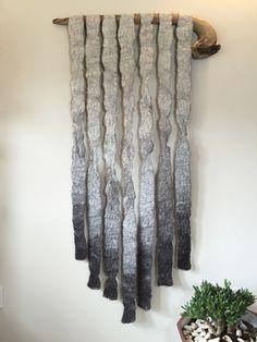 Felted Wool Wall Hanging by Meghan Purcell Wool Wall Hanging, Wall Hangings, Wet Felting Projects, Felt Cushion, Wool Felt, Felted Wool, Felt Pictures, Floor Art, Handmade Felt