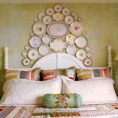 Shabby chic bedroom with wall display of dishes. OH MY SO PRETTY! What do you think Emily? Old Plates, Vintage Plates, Plates On Wall, Plate Wall, Antique Plates, China Plates, Hanging Plates, Vintage China, Decorative Plates
