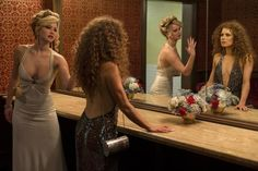 Rosalyn Rosenfeld (Jennifer Lawrence) & Sydney Prosser (Amy Adams) in the Grand Old AC Hotel powder room in Columbia Pictures' AMERICAN HUST...