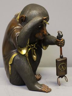 Antique Japanese Bronze of a Monkey with a Pair of Glasses 6