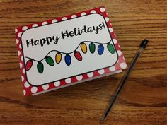 """Use these printable cards to spread holiday cheer and gratitude to your co-workers, students, and families! Need an intentional holiday writing activity for your students? They will love these bright and cheery designs! Simply print, cut, and fold. Add your message and sign your name and the cards are ready to give!   Includes 8 designs (4 """"Thank You!"""" and 4 """"Happy Holidays!"""")"""
