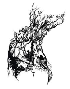 Sketch for upcoming papercut by Monique van Uden, via Behance