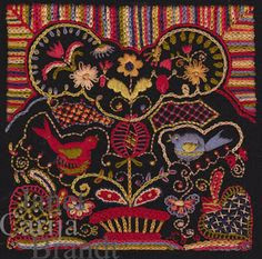 Embroidery on wool -- Janet Brandt