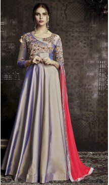 5b51bc0029 Exquisite Silver Color tapera Party Wear Gowns Dress | 342840569 #heenastyle,  #salwarkameez,
