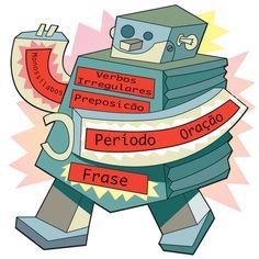 Vector Spanish verb robot