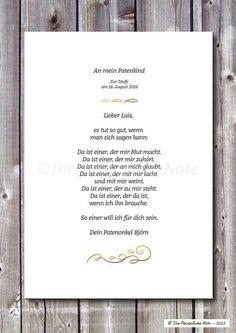 Patenbrief zur Taufe/Konfirmation/Segnung, ... von Die Persönliche Note auf DaWanda.com