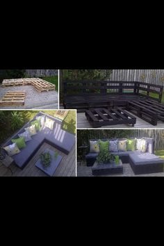 Outside seating area made with wood pallets