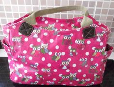 OWL PRINT HANDBAG HOTPINK COLOR 12 INCH ACROSS AND 9 INCH DOWN TWO SIDE POCKETS