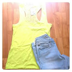 NWT neon yellow/citron lace back tank NWT neon yellow colored lace racer back tank from Burlington coat factory. Junior's size large. Soft stretchy material. Adorable for summer. ??Smoke free home. Questions or offers welcome. Sorry, no trades or PayPal. Splash Tops Tank Tops