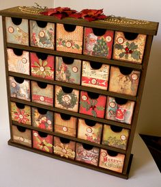 DIY Advent calendar.  Wood shelf, blank boxes to decorate.  15x13x3 inches. $37.99