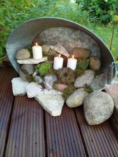 Zinkwanne terassendeko Maybe replace the candles with fairy garden thjngs … Garden Crafts, Garden Projects, Diy Garden, Garden Pots, Outdoor Projects, Outdoor Decor, Outdoor Living, Pot Jardin, Deco Floral