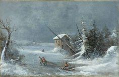 Free Public Domain Artwork: The Blizzard, oil on canvas painting by Cornelius Krieghoff, c. Vintage Landscape, Landscape Prints, Landscape Art, Canadian Painters, Canadian Artists, Canada, Old Paintings, Cornelius, Winter Art