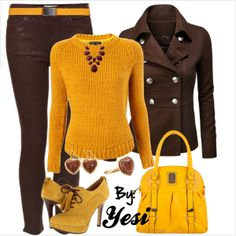 Do some knitting and sowing - wollaaa Style Pick Classy Outfits, Cool Outfits, Casual Outfits, Yellow Outfits, Winter Fashion Outfits, Autumn Winter Fashion, Brown Pants Outfit For Work, Color Combinations For Clothes, Pantalon Large