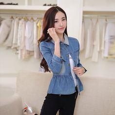 2015 New Women's Fashion Slim Patchwork Denim Jackets Classical Outwear Jeans Coat Jackets Female Outerwear Tops Femininas Blue