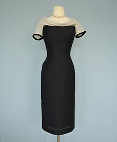 1960s Little Black Dress. Midnight Black Silk Look Cocktail Dress.