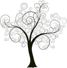 """previous pinner said: Beautiful swirly tree. I'm planning on painting this on the wall and then adding pictures of our family to create a unique """"family tree. Tatoo Tree, Arte Quilling, Doodles, Tree Wall, Life Tattoos, Tatoos, Art Plastique, Doodle Art, Tree Decorations"""